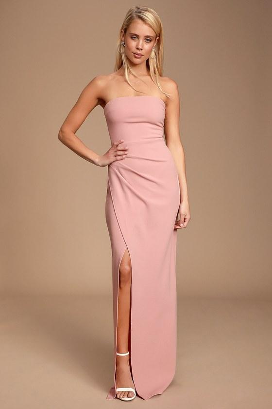 9598b09b6be4 Sexy Maxi Dress - Mauve Pink Maxi Dress - Strapless Maxi Dress