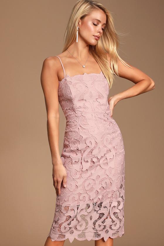 Lina Blush Pink Lace Midi Dress
