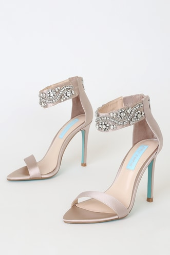 17455afd4 Brie Pale Nude Satin Rhinestone Pointed-Toe Ankle-Strap Heels