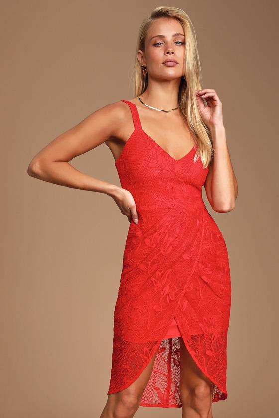 3aeda613e26a Chic Red Dress - Lace Dress - Sleeveless Dress - Tulip Hem Dress
