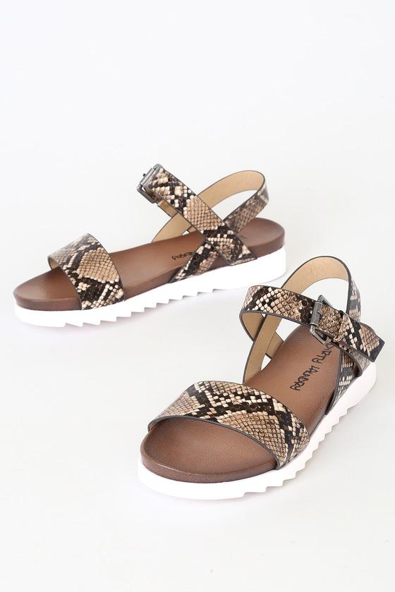Image of Caylee Natural Snake Flat Sandal Heels - Lulus