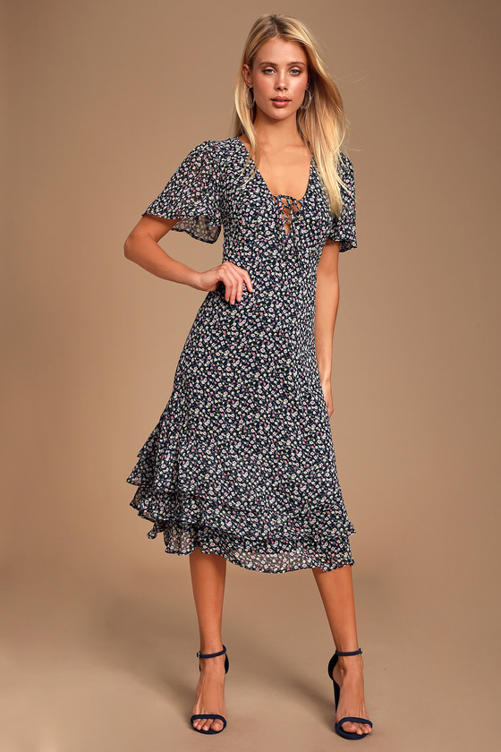 1930s Day Dresses, Tea Dresses, House Dresses Renee Blush Pink Floral Print Ruffled Lace-Up Midi Dress - Lulus $69.00 AT vintagedancer.com