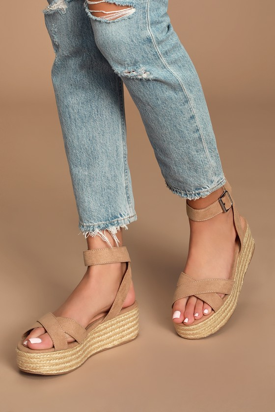Zala Camel Suede Espadrille Flatform Sandals by Chinese Laundry