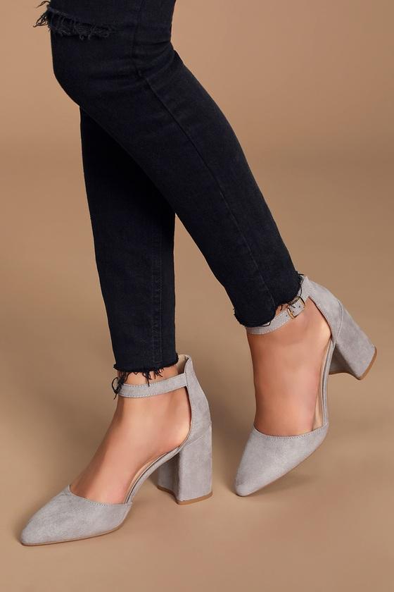 Ellarose Grey Suede Ankle Strap Heels