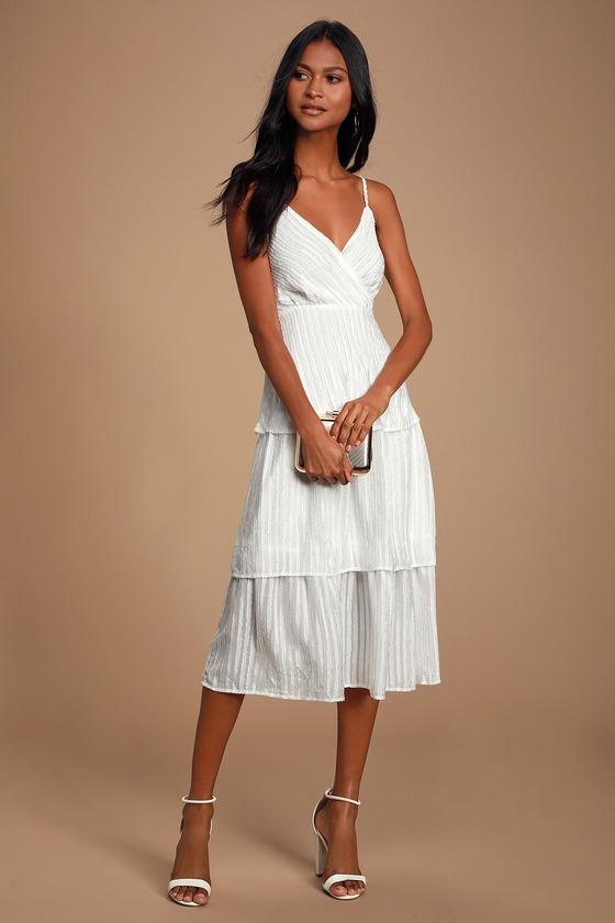 b50dab8f6c105 Blaine White Striped Tiered Midi Dress