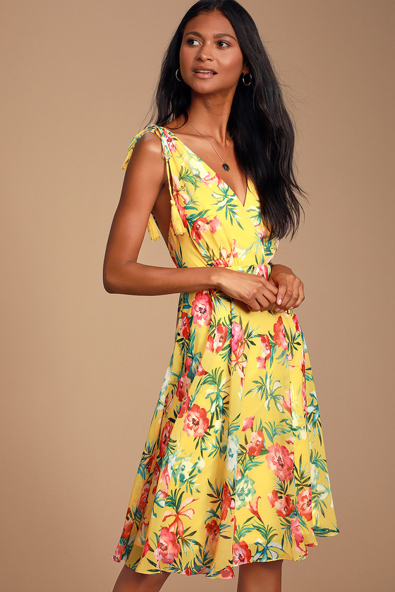 Tropic Wonder Yellow Tropical Print Midi Dress - Spring Summer