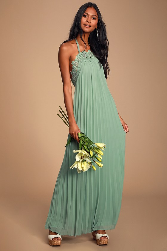Encinitas Sage Green Lace Pleated Halter Maxi Dress