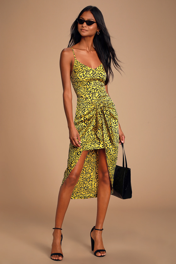 Odette Yellow Leopard Print Satin Tie-Front High-Low Dress