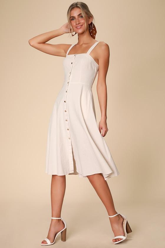 Cream Floral Applique Midi Dress - from Little Mistress UK