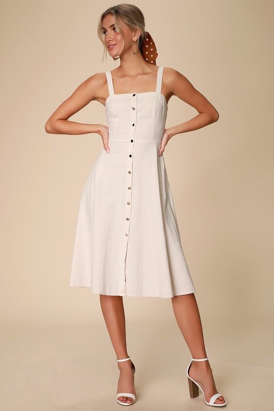 Pippie Cream Button Front Sleeveless Midi Dress by Lulus