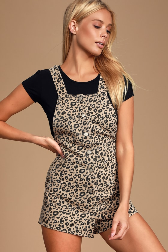 Allis Brown Leopard Print Button-Front Short Overalls