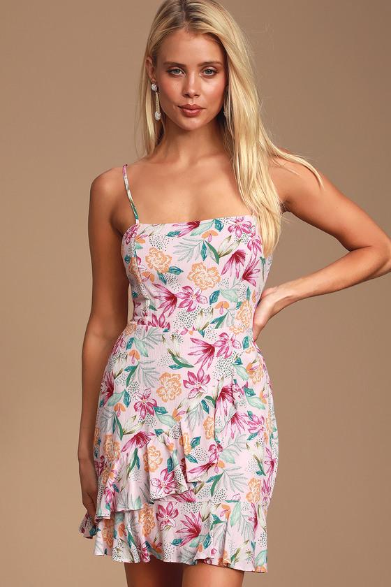 8730dee28b27 Fun Tropical Print Dress - Lavender Dress - Ruffled Mini Dress