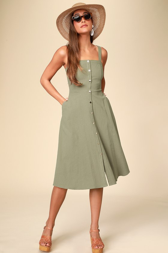 Pippie Olive Green Button Front Sleeveless Midi Dress by Lulus