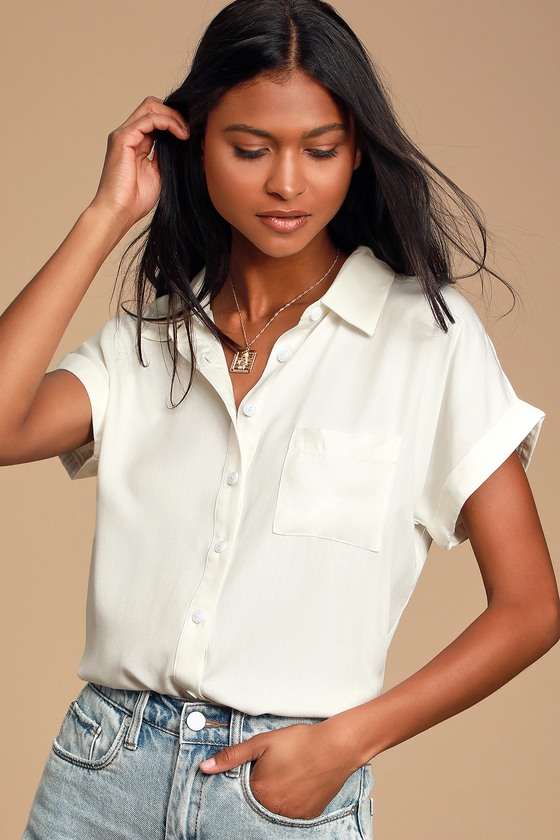 Blythe White Short Sleeve Button Up Top by Lulus