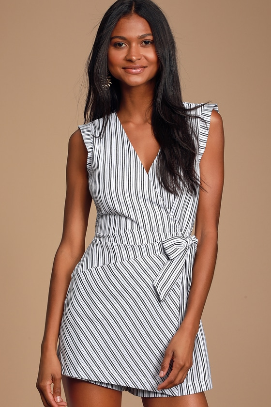 Amherst Black and White Striped Wrap Skort Romper