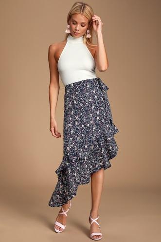 56b1af3afae1 Cararra Navy Blue Floral Print Ruffled Asymmetrical Midi Skirt