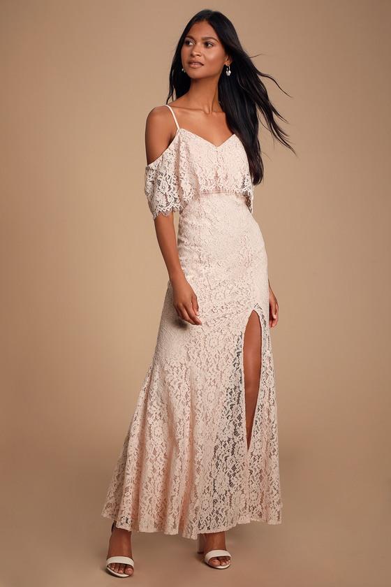 562e6a600ced Cute Lace Dress - Blush Lace Dress - Off-the-Shoulder Maxi Dress