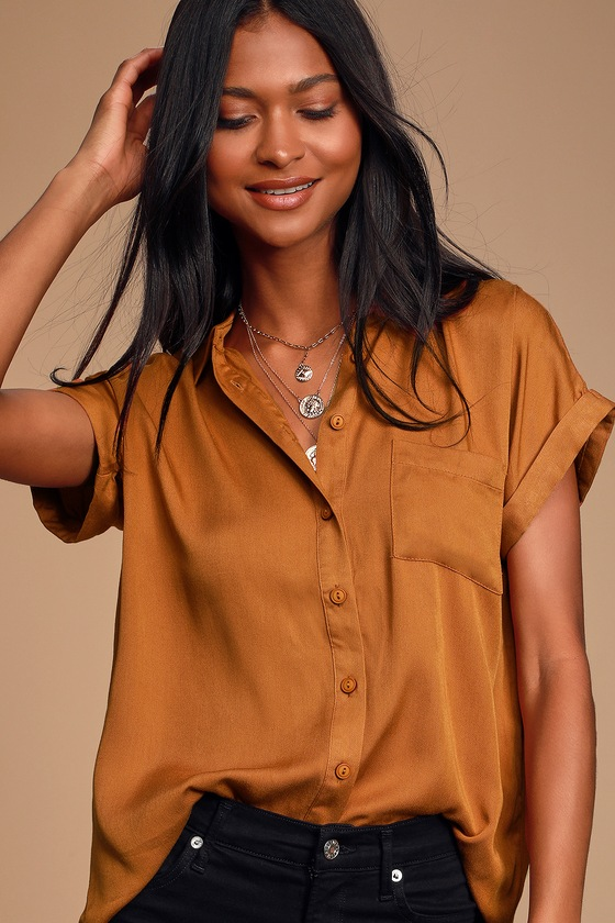 Blythe Rust Brown Short Sleeve Button Up Top by Lulus
