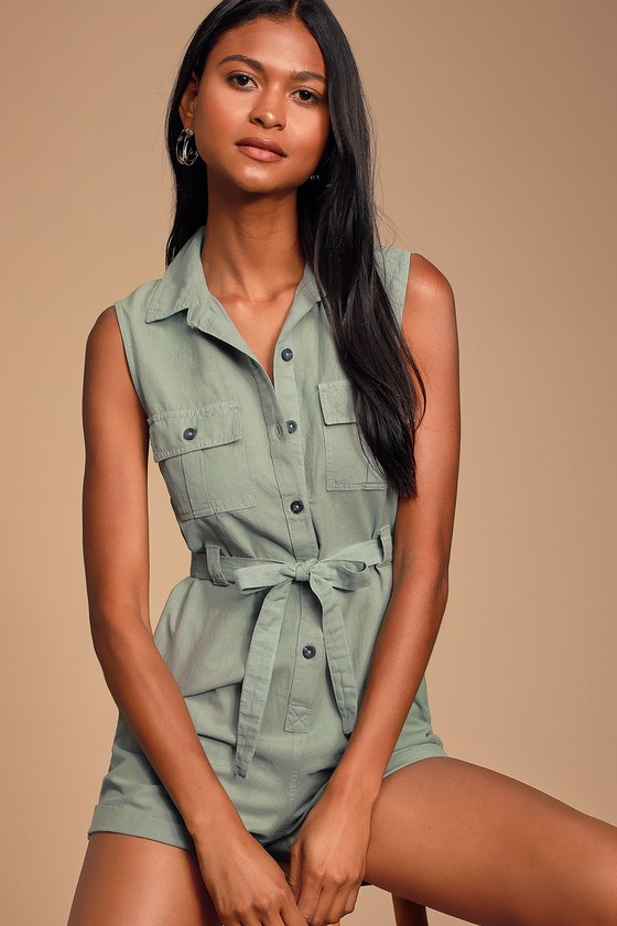 Lucas Sage Green Sleeveless Button Up Romper by O'neill