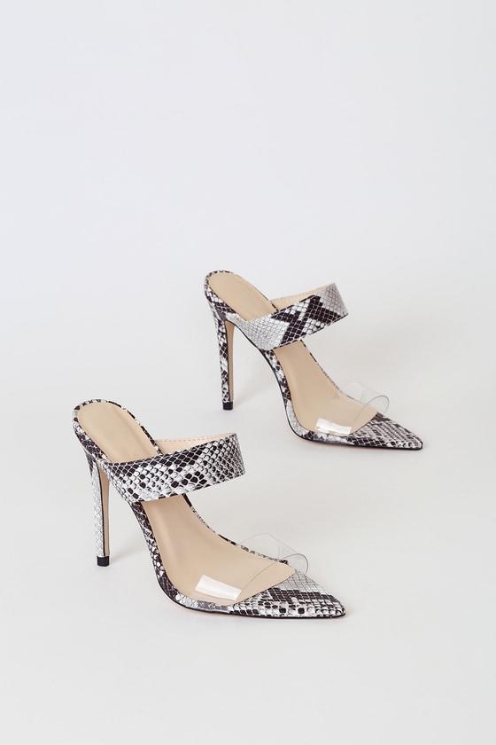 d2233b6fc8ed2 Adina Black Snake Pointed-Toe High Heel Sandals