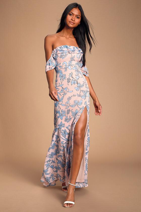 67f4db6ea718cf Floral Maxi Dress - Off-the-Shoulder Maxi Dress - Blush Dress