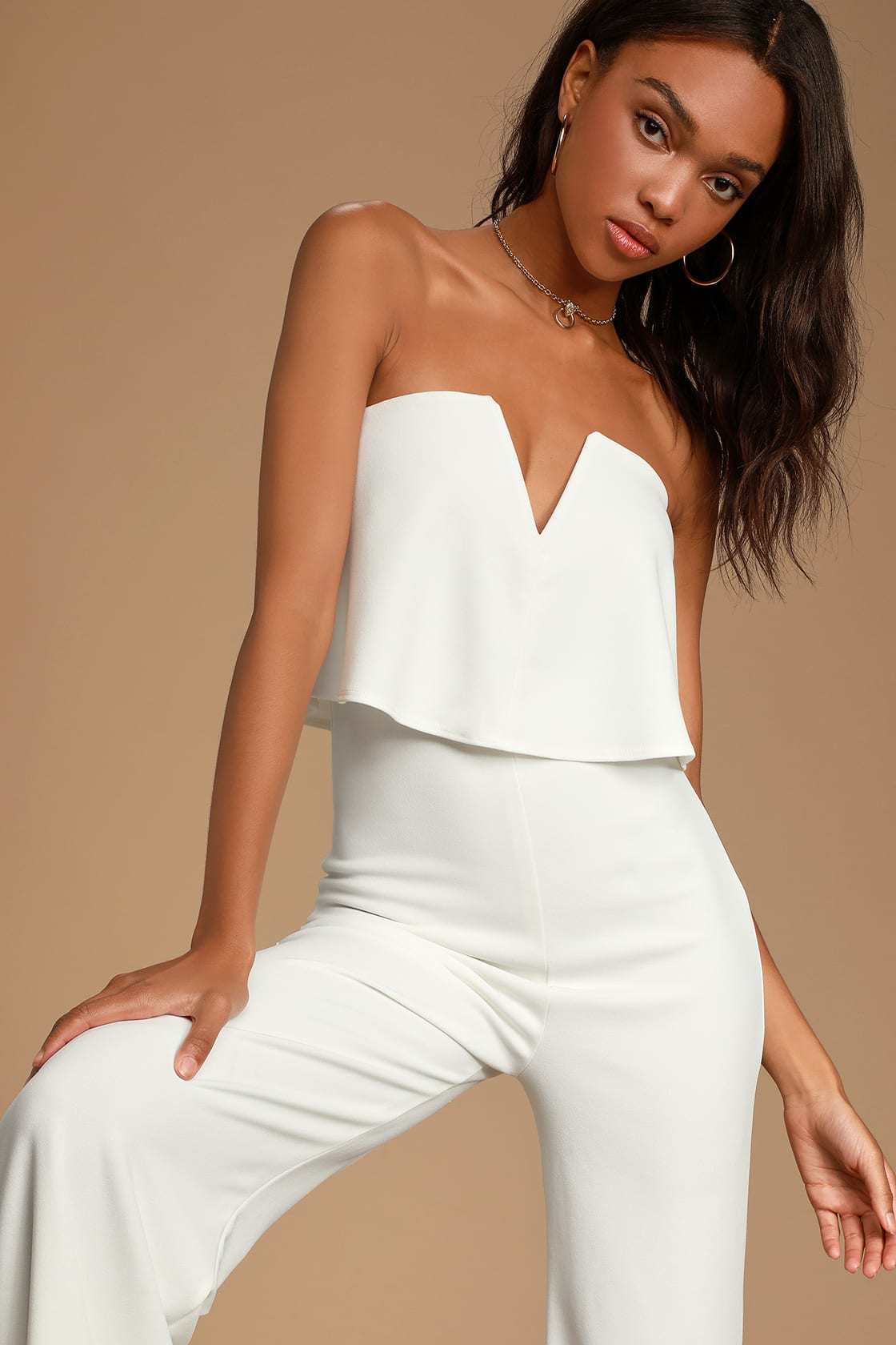 Power of Love White Strapless Jumpsuit