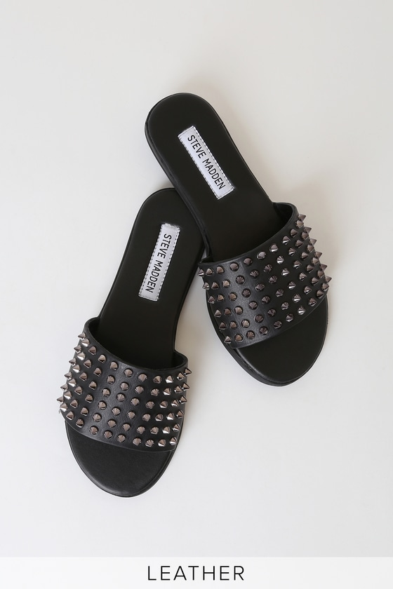 Farryn Black Leather Studded Slide Sandals - Trendy Cute Shoes
