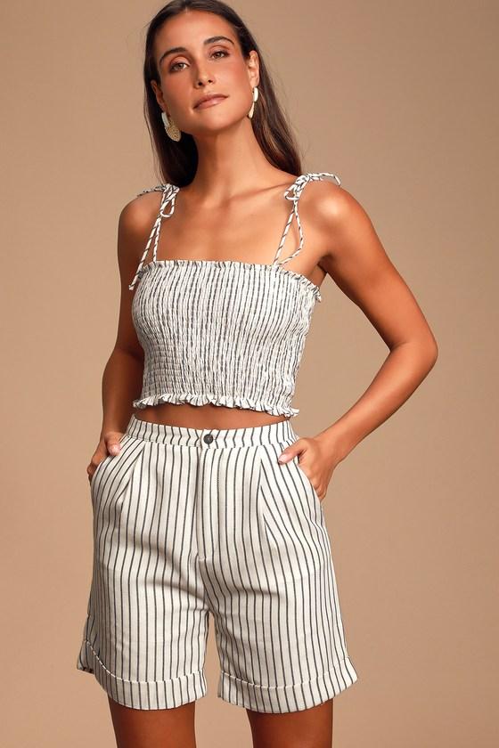 1950s Pinup Shorts, Retro Shorts Carine Off White Striped Bermuda Shorts - Lulus $14.00 AT vintagedancer.com