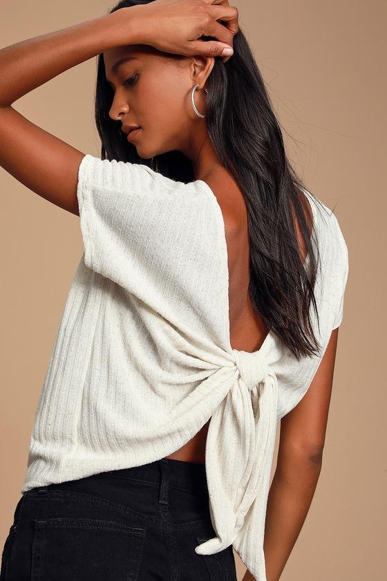 Jayde Cream Ribbed Knit Tie Back Top by Lulus
