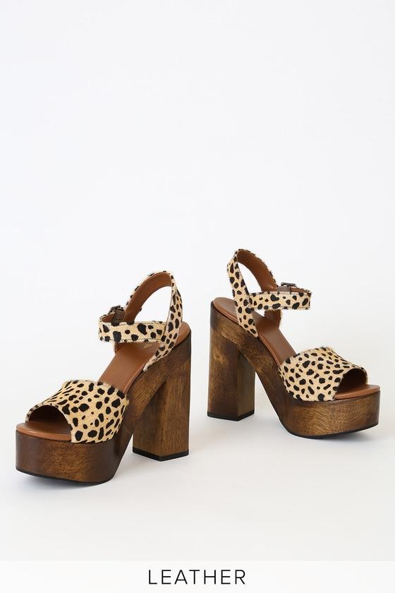 4d52f0adb4a Lolita Leopard Calf Hair Wooden Platform Heels