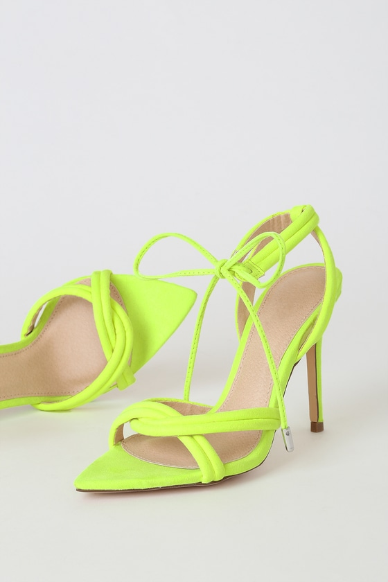 Cute Neon Yellow Suede Heels - Pointed
