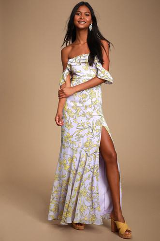 a5e25441fd6c6d Adelaide Lavender Floral Print Off-the-Shoulder Maxi Dress