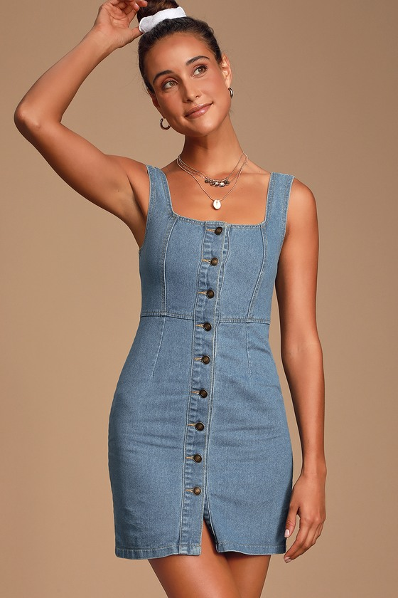 Making Eyes Medium Wash Denim Button Front Mini Dress by Sage The Label