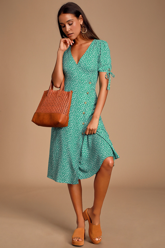 Paria Green Leaf Print Button Up Short Sleeve Midi Dress by Lulus