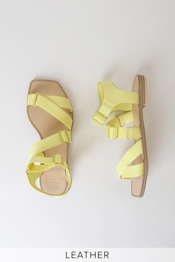 Indah Citron Yellow Leather Utilitarian Flat Sandals by Dolce Vita