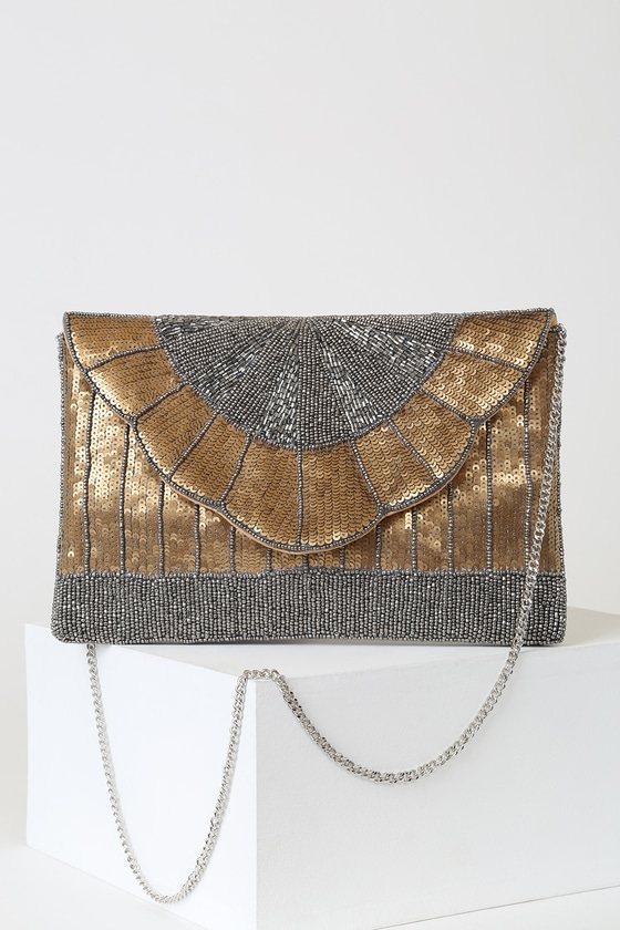 1930s Handbags and Purses Fashion Glam Goddess Gold and Gunmetal Beaded Sequin Clutch - Lulus $51.00 AT vintagedancer.com