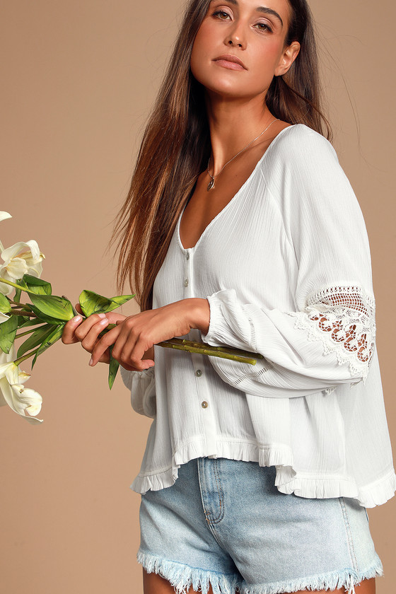 JOANIE WHITE CROCHET LACE LONG SLEEVE BUTTON-UP TOP