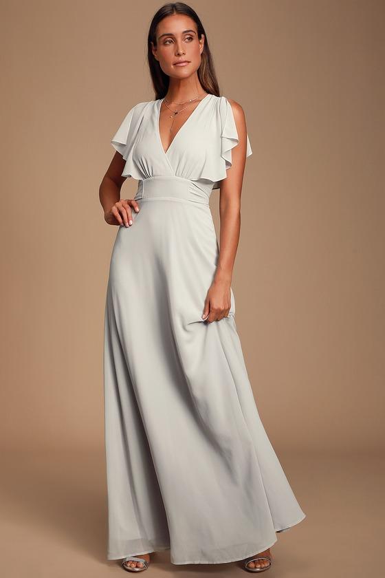 Vintage Evening Dresses and Formal Evening Gowns Dearly Loved Light Grey Flutter Sleeve Maxi Dress - Lulus $66.00 AT vintagedancer.com