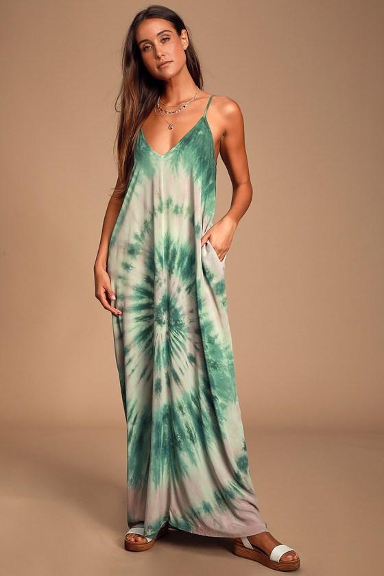NADIYA FOREST GREEN TIE-DYE SLEEVELESS MAXI DRESS