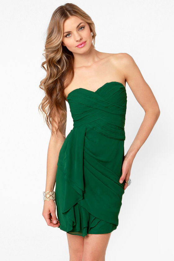 Midnight Masquerade Strapless Hunter Green Dress at Lulus.com!