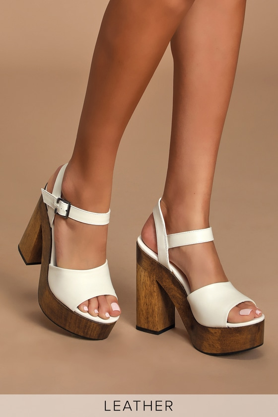 White Heels - Wooden Platform Heels - Lulus
