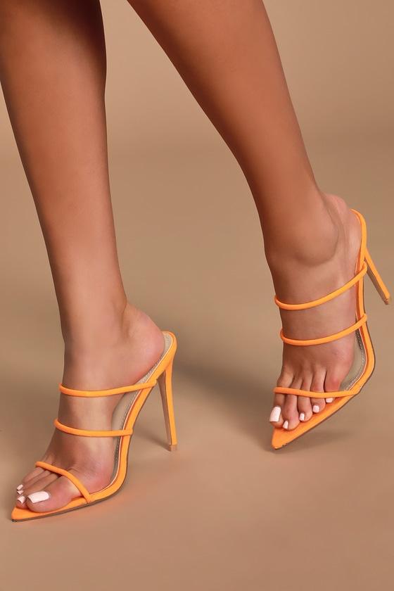 Sexy Orange Heels - Pointed-Toe Sandals