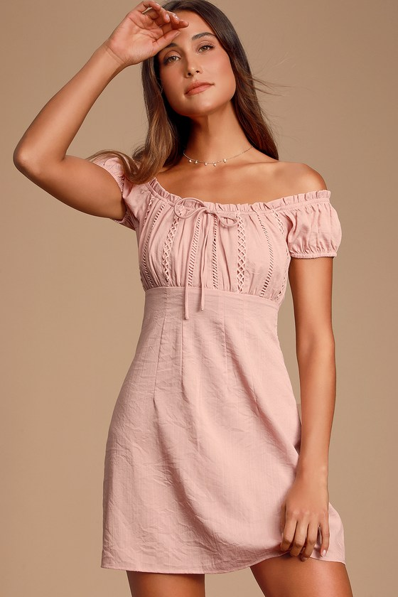 Wisteria Blush Pink Embroidered Off The Shoulder Mini Dress by Lulus