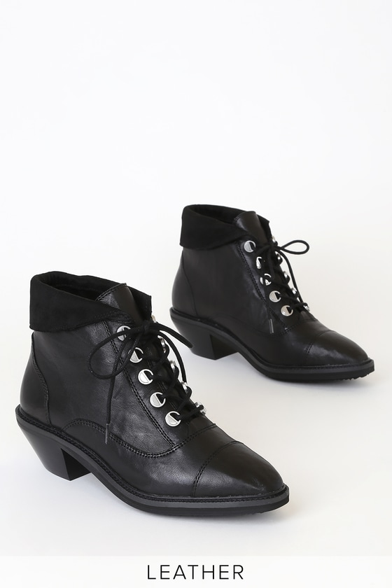 Cortez Black Leather Lace-Up Ankle Booties