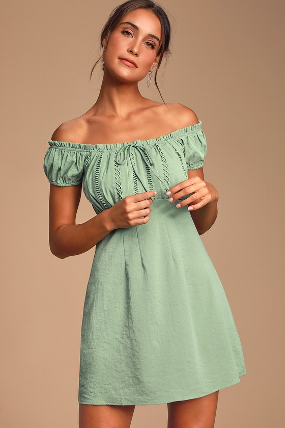 Wisteria Sage Green Embroidered Off-the-Shoulder Mini Dress