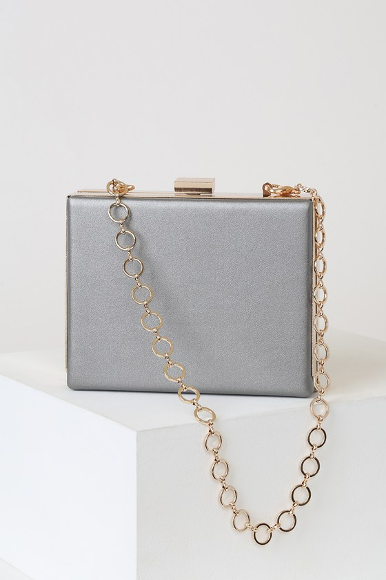 Juliana Gunmetal Box Clutch by Lulus