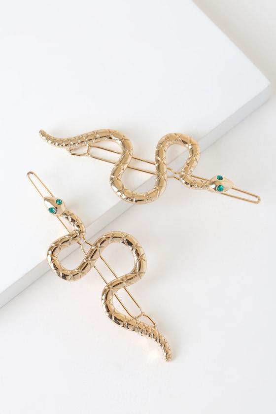 031045f5 Medusa Gold and Green Snake Hair Clips
