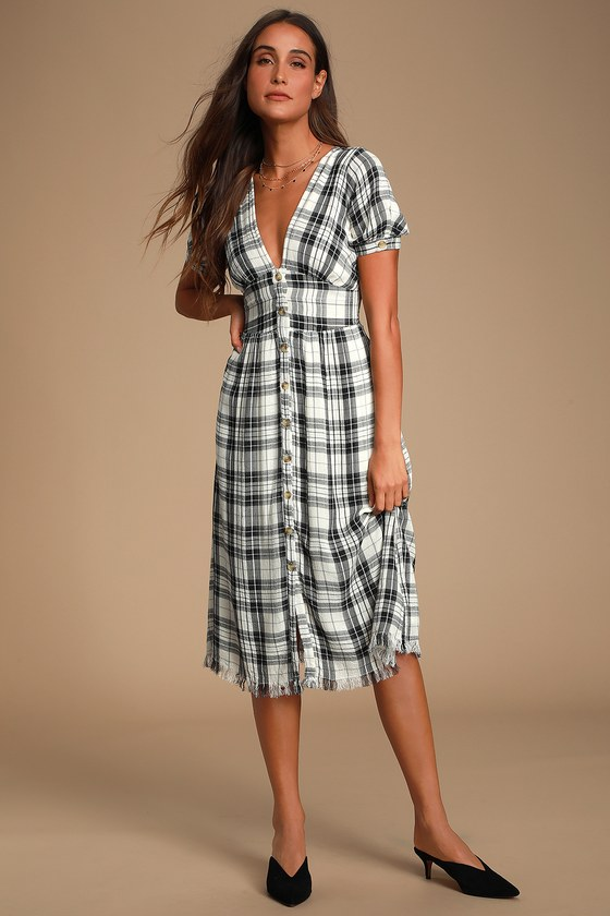 Dakota Black And White Plaid Button Front Dress by Lulus