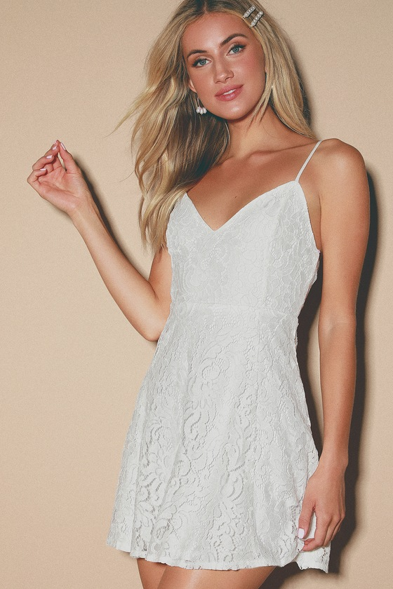 Magnolia Blossom White Lace Skater Dress