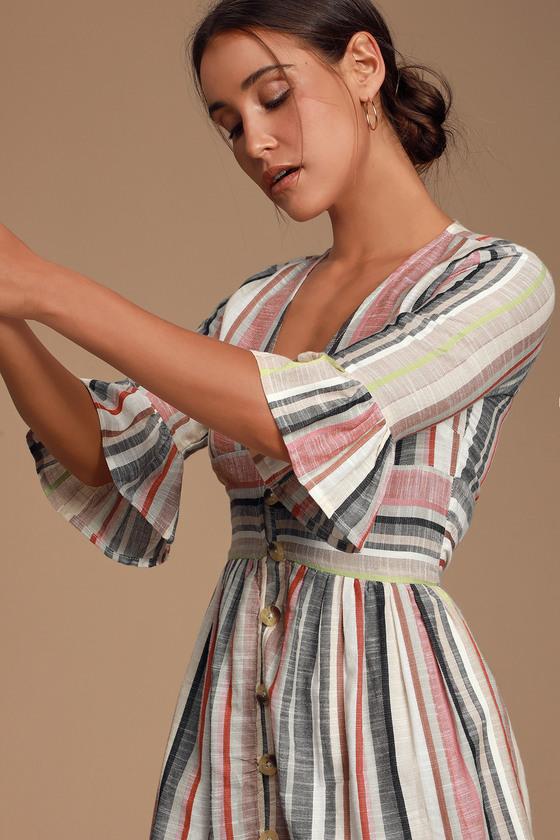 CABANA IN CABO CREAM MULTI STRIPED BUTTON-FRONT DRESS